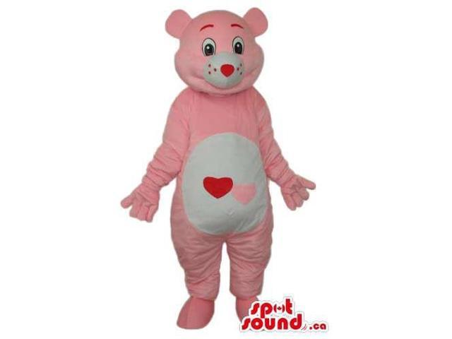 Pink Care Bear Cartoon Canadian SpotSound Mascot With A Hearts On Its Belly