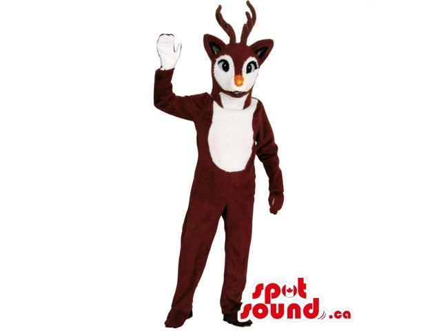 Customised Brown Reindeer Plush Canadian SpotSound Mascot With A White Belly