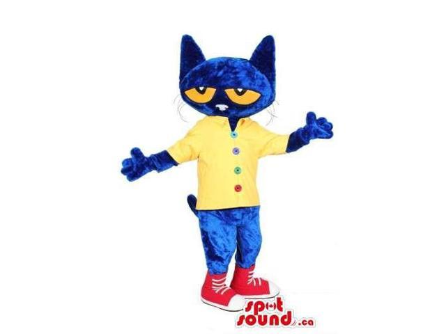 Flashy Blue Fairy-Tale Cat Plush Canadian SpotSound Mascot Dressed In A Yellow Shirt