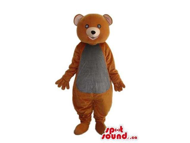 Brown Teddy Bear Forest Plush Canadian SpotSound Mascot With A Grey Belly