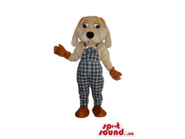 Brown And Beige Dog Plush Canadian SpotSound Mascot Dressed In Checked Overalls
