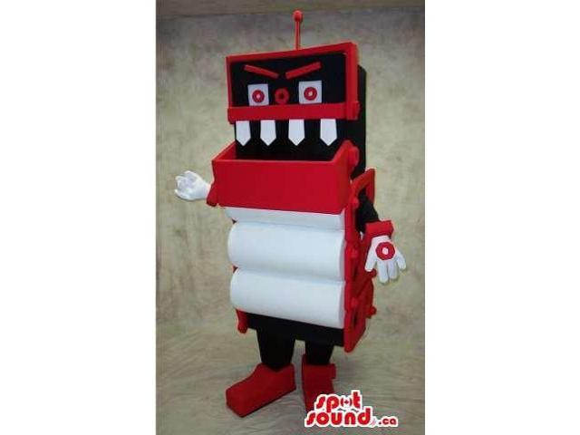 Customised Large Red, Black And White Robot Canadian SpotSound Mascot
