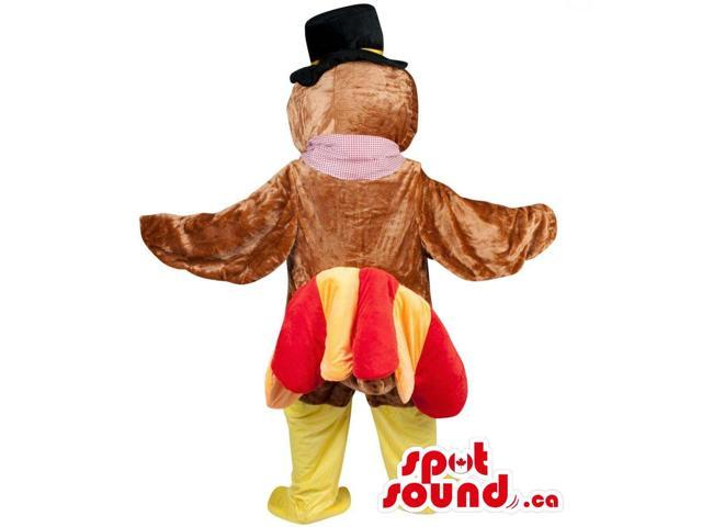 Turkey Plush Canadian SpotSound Mascot With A Yellow And Red Tail Dressed In A Hat
