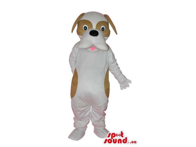White Dog Plush Canadian SpotSound Mascot With Brown Spots And Eye Circles