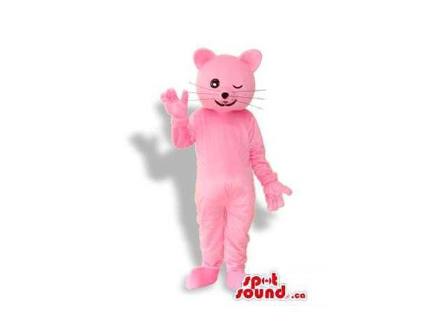 Fantastic Pink Cat Animal Plush Canadian SpotSound Mascot Winking Its Eye