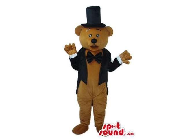 Brown Teddy Bear Forest Plush Canadian SpotSound Mascot Dressed In A Tuxedo