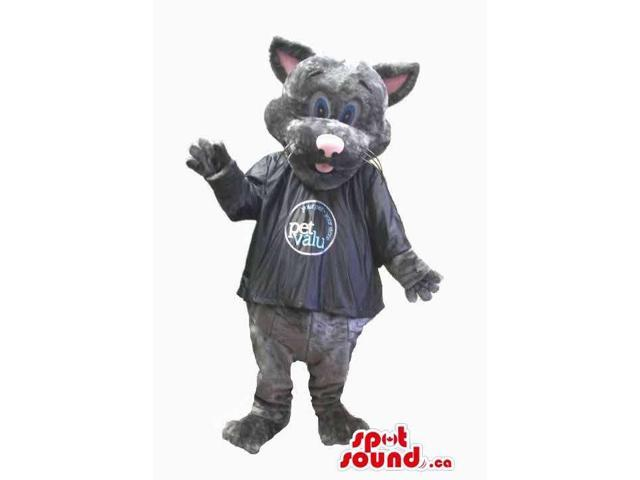 Grey Cat Plush Canadian SpotSound Mascot Dressed In A Black Shirt With A Logo