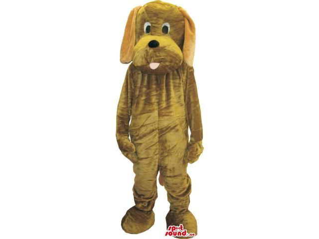 Customised Brown Dog Plush Canadian SpotSound Mascot With A Cute Tongue