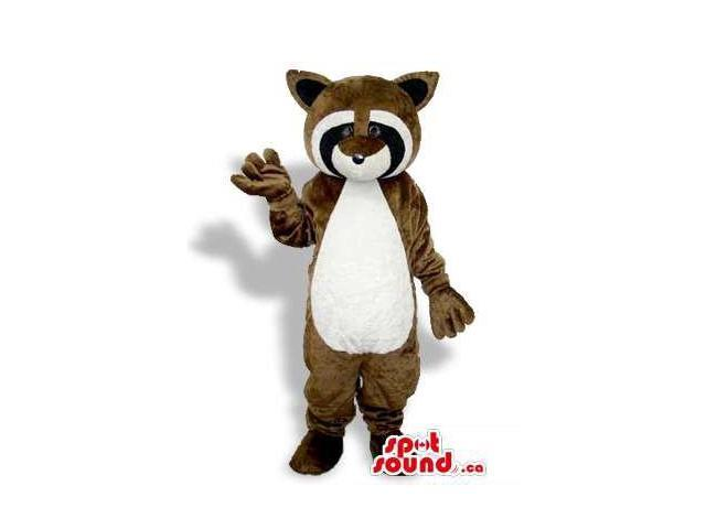 Brown Raccoon Animal Plush Canadian SpotSound Mascot With A White Belly