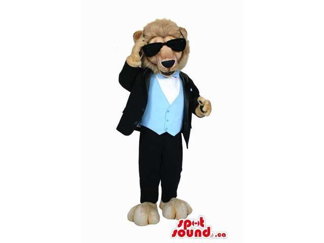 Brown Lion Plush Canadian SpotSound Mascot Dressed In Elegant Gear And Sunglasses