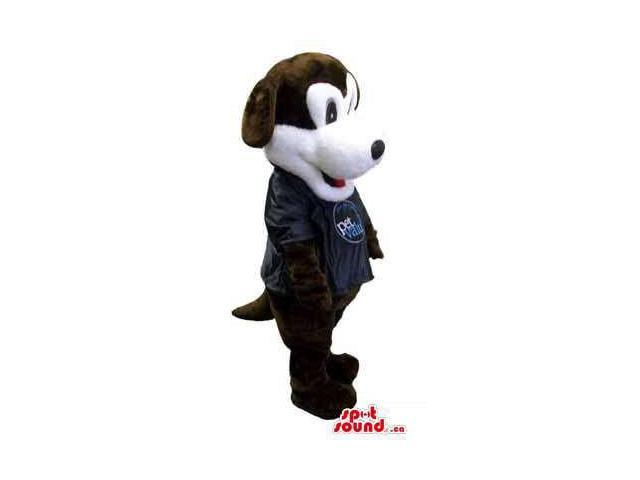 Brown And White Dog Plush Canadian SpotSound Mascot Dressed In A Black Logo Shirt