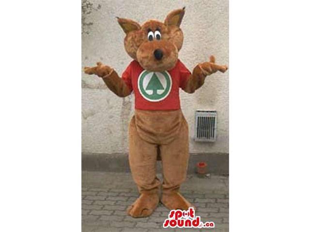 Brown Kangaroo Plush Animal Canadian SpotSound Mascot With A Red T-Shirt With Logo
