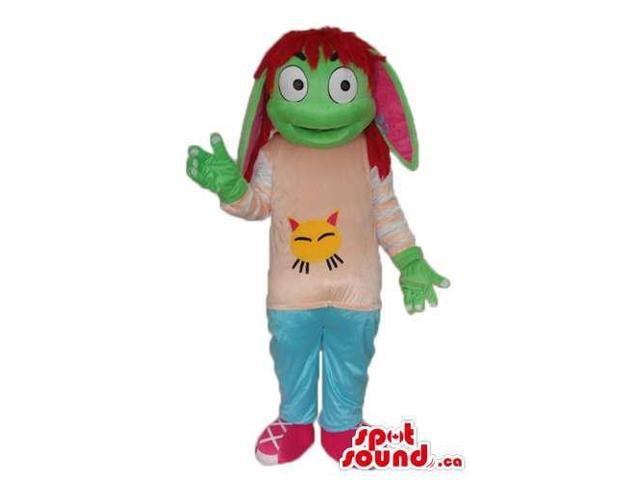 Green Creature Girl Plush Canadian SpotSound Mascot With Brown Hair Dressed In T-Shirt
