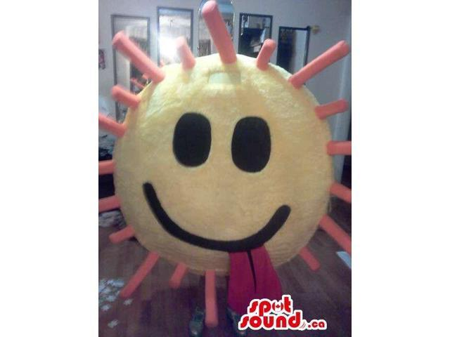 Cool Large Sun Or Smiley Plush Canadian SpotSound Mascot With Red Tongue