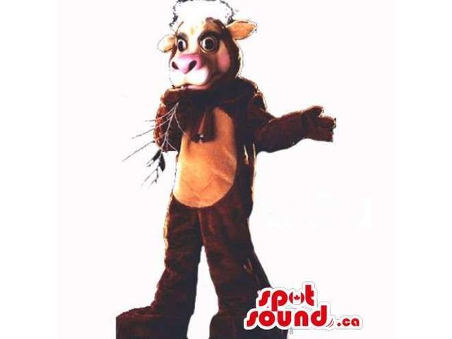 Cow Countryside Animal Canadian SpotSound Mascot In Brown With A Beige Belly