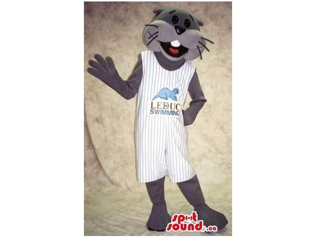 Grey Otter Animal Canadian SpotSound Mascot Dressed In White Gear With Logo