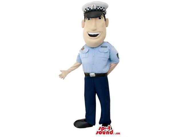 Policeman Character Plush Canadian SpotSound Mascot With Cartoon Face