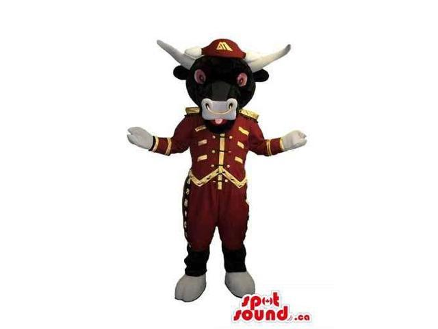 Customised Plush Black Bull Canadian SpotSound Mascot Dressed In Special Clothes