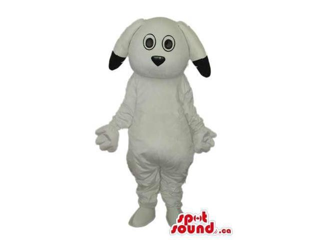 Cute White Dog Animal Plush Canadian SpotSound Mascot With Black Ear Tips