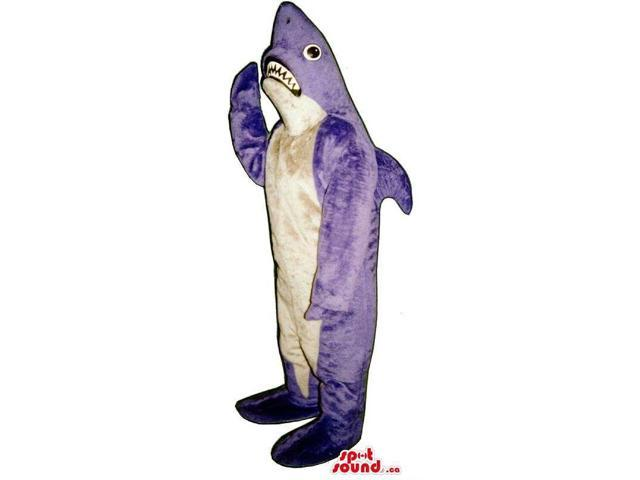 Purple And White Shark Ocean Animal Canadian SpotSound Mascot With Fangs