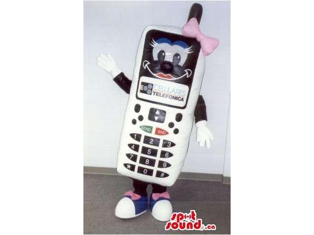 White And Black Cell Phone Canadian SpotSound Mascot With Pink Ribbons