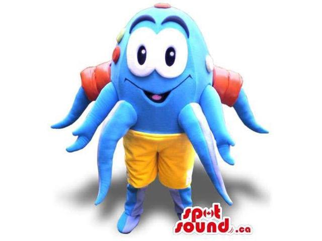 Customised Peculiar Blue Plush Octopus Canadian SpotSound Mascot With Yellow Shorts