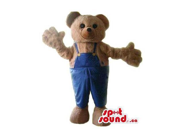 Cute Brown Teddy Bear Plush Canadian SpotSound Mascot Dressed In Blue Overalls