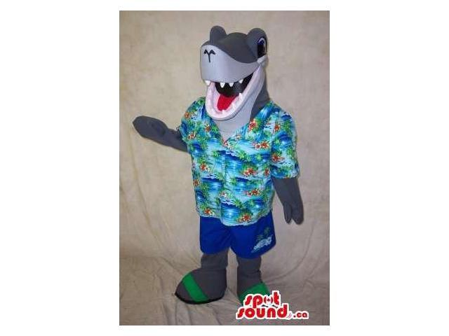Peculiar Grey Shark Animal Canadian SpotSound Mascot Dressed In Summer Gear
