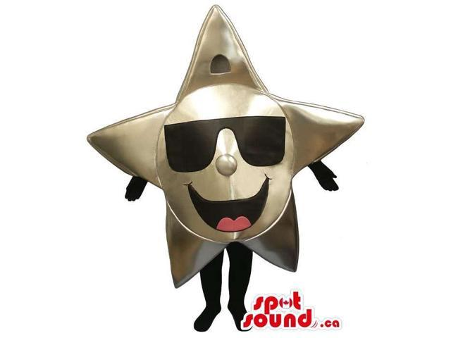 Peculiar Large Shinny Golden Star Canadian SpotSound Mascot Dressed In Sunglasses