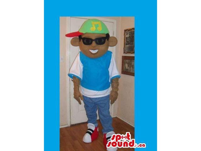Boy Canadian SpotSound Mascot Dressed In Street Wear Clothes And Sunglasses