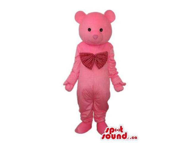 Cute Pink Teddy Bear Canadian SpotSound Mascot Dressed In A Large Red Ribbon