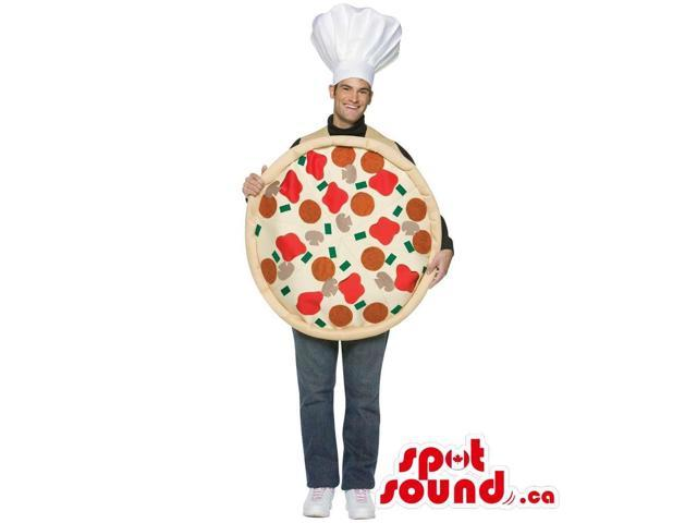 Large Round Pizza Adult Size Costume With A Chef Hat