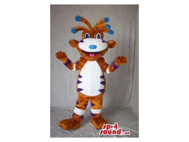 Peculiar Creature Canadian SpotSound Mascot In Brown, White And Blue With Peculiar Hair
