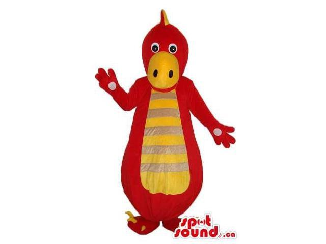 Cute Red Dinosaur Canadian SpotSound Mascot With A Yellow Belly With Stripes
