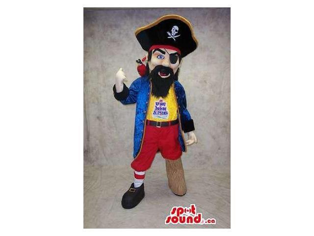 Pirate Human Canadian SpotSound Mascot With Eye Patch, Wooden Leg And Hat