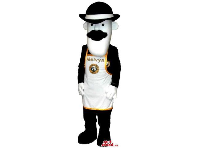 Character Canadian SpotSound Mascot With A Moustache, A Hat And An Apron For Logos