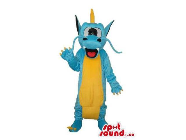 Exotic Blue Dragon Plush Canadian SpotSound Mascot With A Yellow Belly