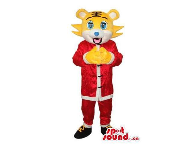 Yellow Tiger Animal Plush Canadian SpotSound Mascot Dressed In Oriental Red Gear