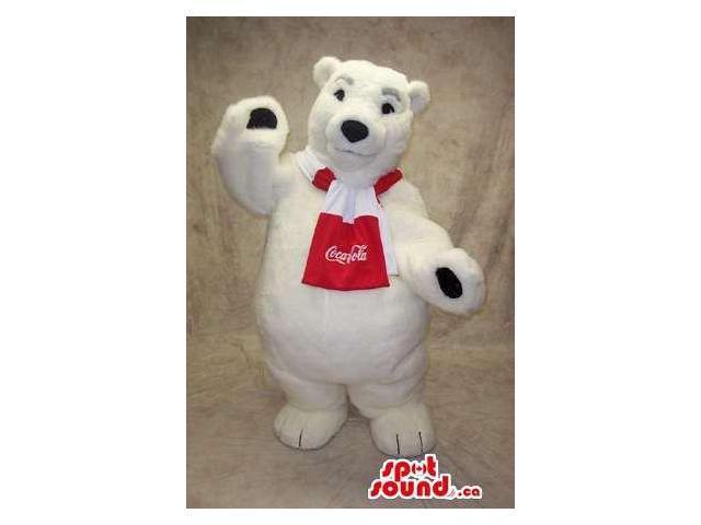 Famous White Polar Bear Canadian SpotSound Mascot With Coca-Cola Logo On Scarf