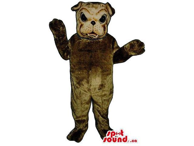 Angry Dark Brown Bulldog Animal Plush Canadian SpotSound Mascot With Bent Ears
