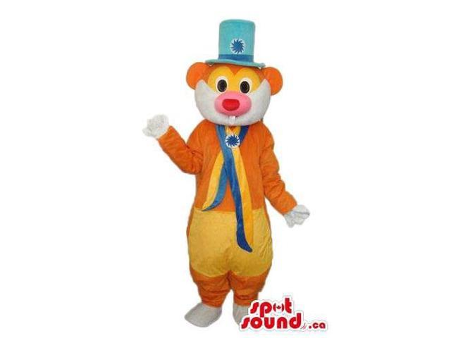 Fairy-Tale Orange And Yellow Mouse Canadian SpotSound Mascot With A Blue Top Hat