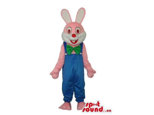 Pink Rabbit Or Bunny Plush Canadian SpotSound Mascot Dressed In Blue Overalls