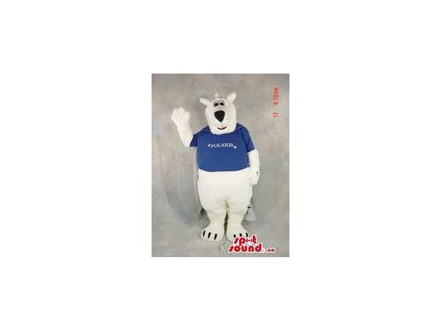 White Bear Plush Canadian SpotSound Mascot Dressed In A Blue T-Shirt With Text