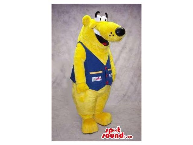 Peculiar Yellow Bear Canadian SpotSound Mascot Dressed In A Blue Vest With Logos