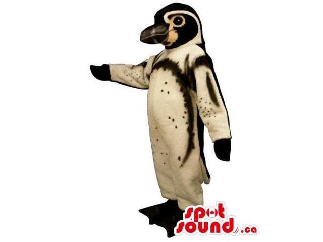 Brown And Black Bird Canadian SpotSound Mascot With Some Dots And Large Beak
