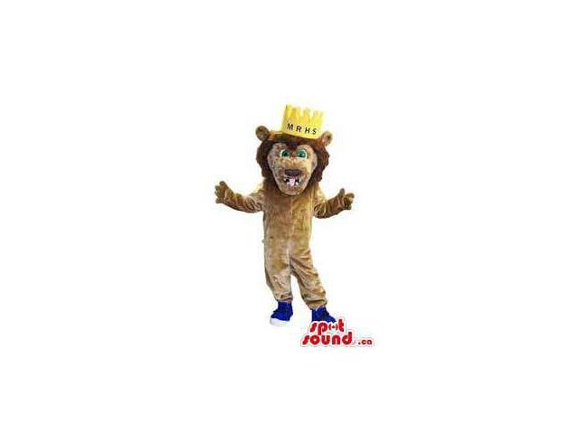 Brown Plush Lion Animal Canadian SpotSound Mascot Dressed In A Crown And Shoes