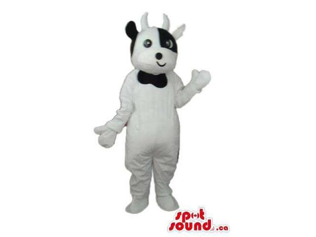 Cute White Cow Plush Canadian SpotSound Mascot With A Small Smiling Mouth