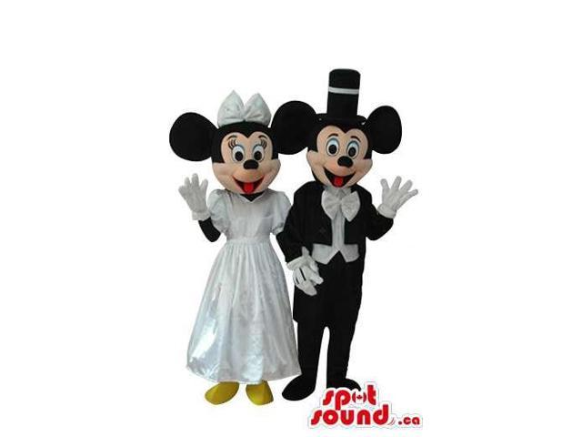 Mickey And Minnie Mouse Canadian SpotSound Mascots With White Wedding Gear