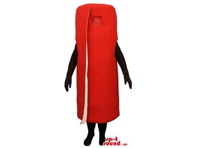 Flashy All Red Wrapped Carpet Or Cylinder Canadian SpotSound Mascot With No Face