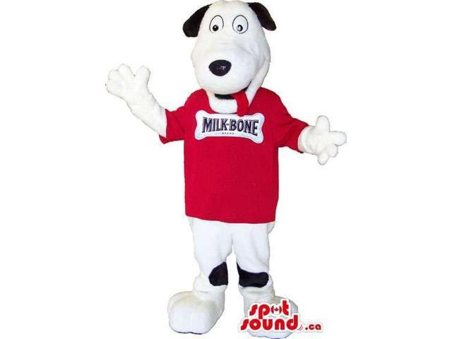 White And Black Plush Dog Animal Canadian SpotSound Mascot Dressed In A Red T-Shirt